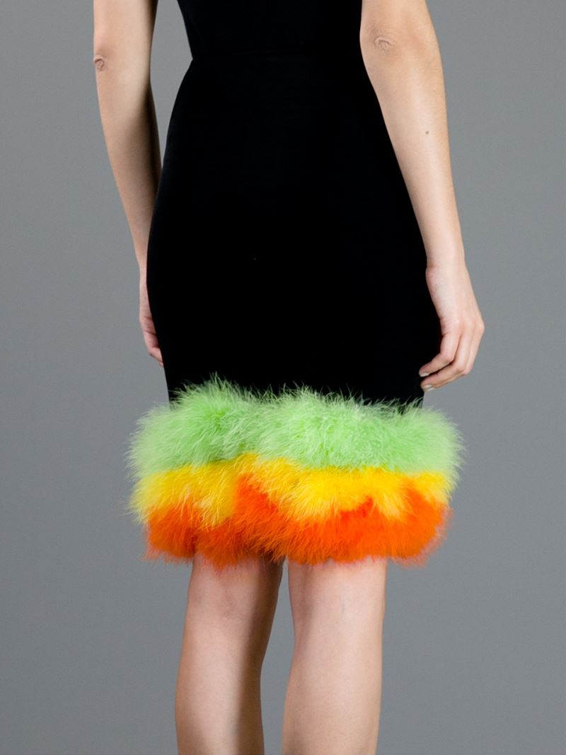 Jean Paul Gaultier Synthetic Feather Trimmed Skirt in Black