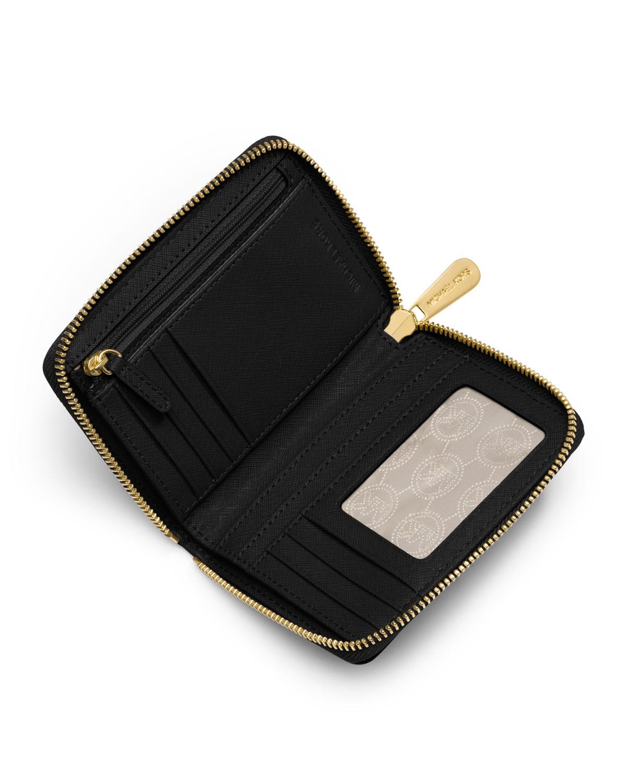 cadd20613aa5 Lyst - Michael Michael Kors Medium Jet Set Travel Ziparound Wallet in Black
