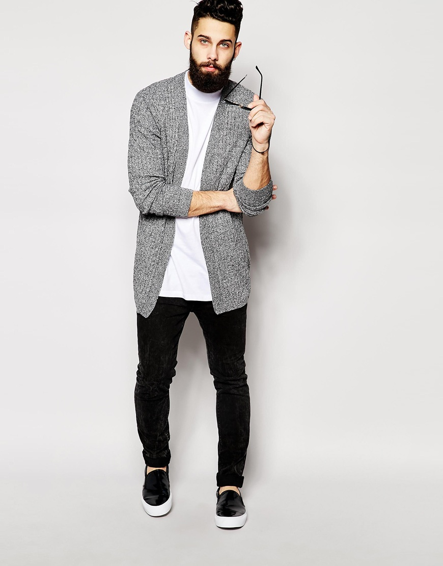 Asos Longline Cable Knit Cardigan in Black for Men | Lyst