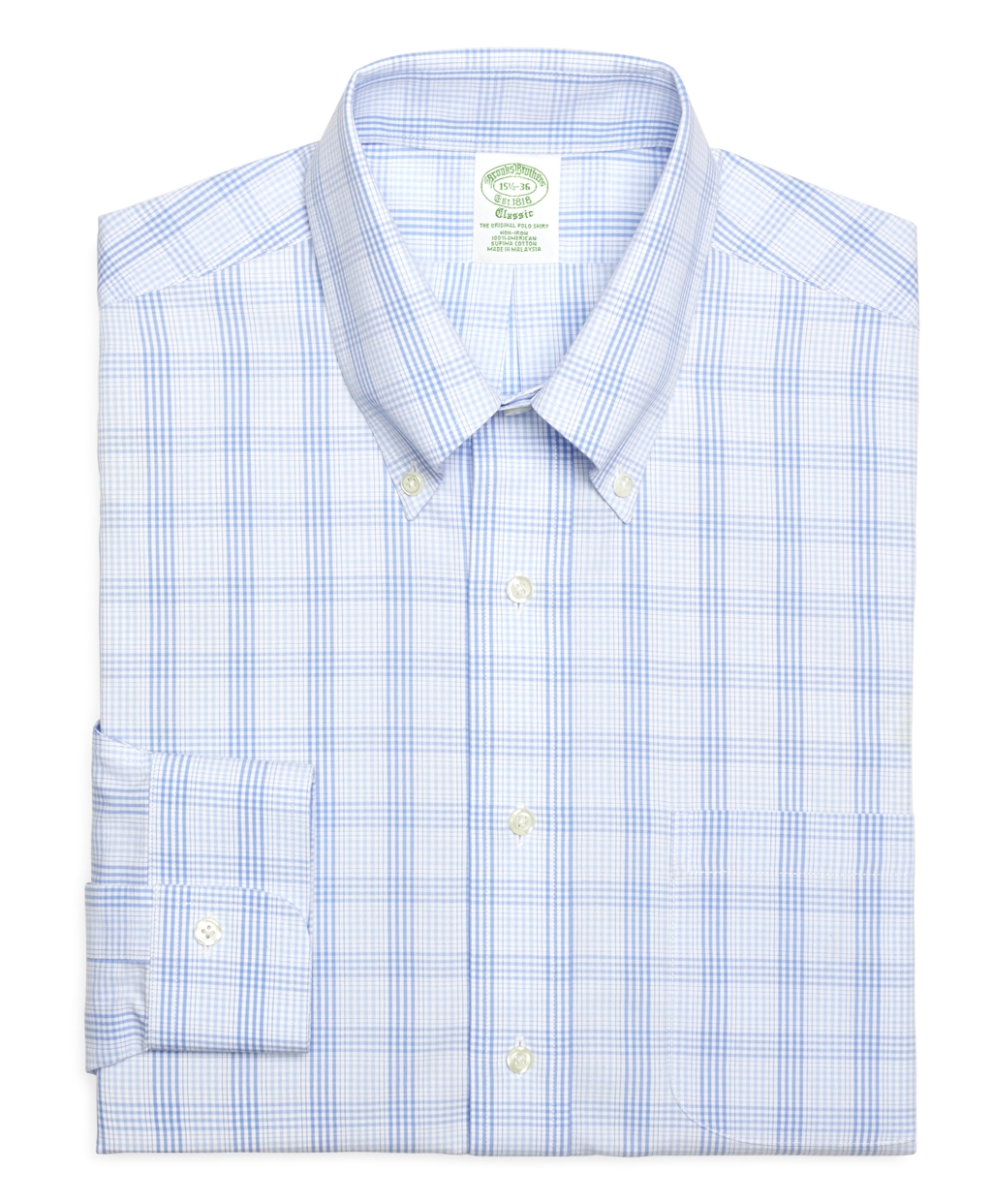 Brooks brothers non iron extra slim fit glen plaid for Extra trim fit dress shirt