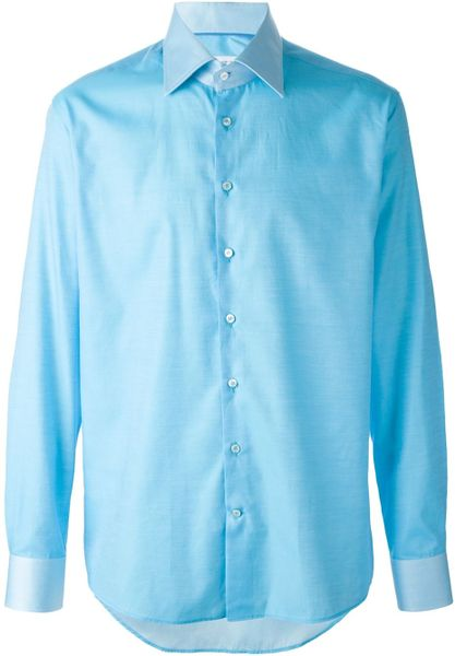 Etro contrasting collar and cuff shirt in blue for men for Mens dress shirts with contrasting collars and cuffs