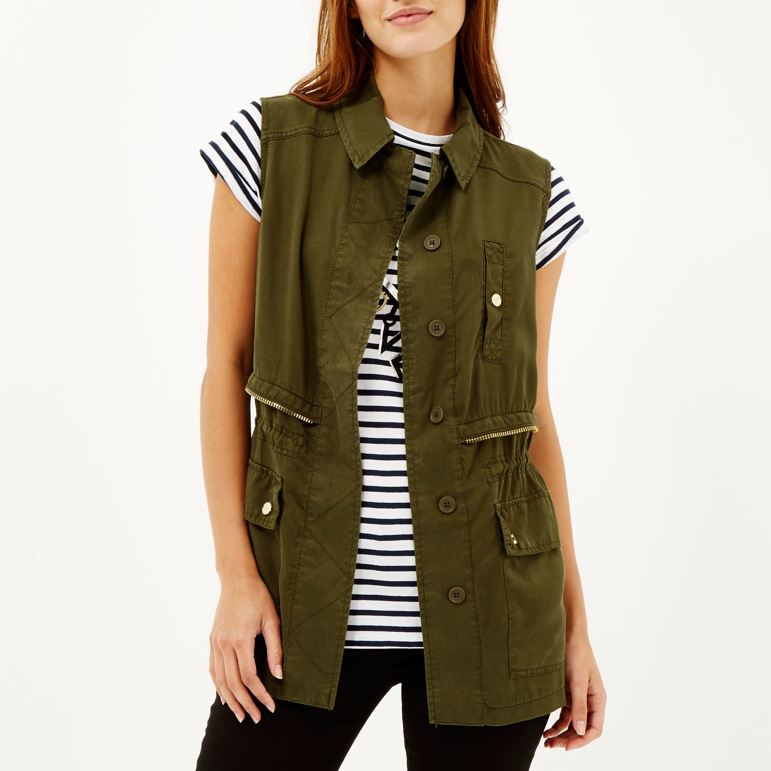 River island Khaki Sleeveless Military Jacket in Natural | Lyst