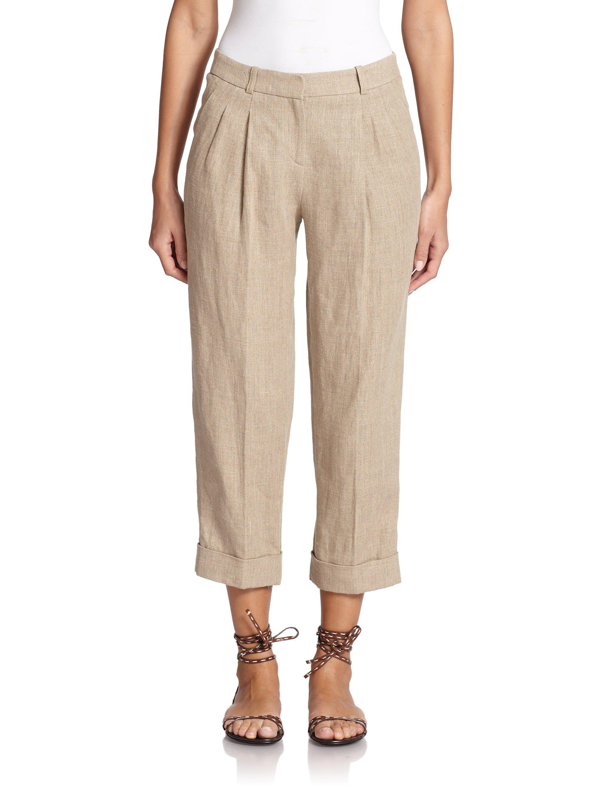 michael kors hemp linen capri pants in natural