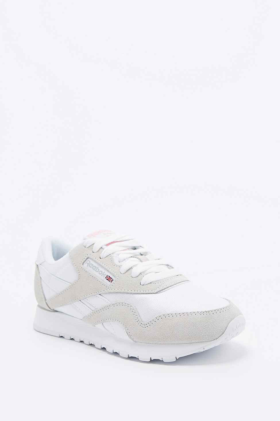 Reebok Classic White And Grey Nylon Runner Trainers in Grey