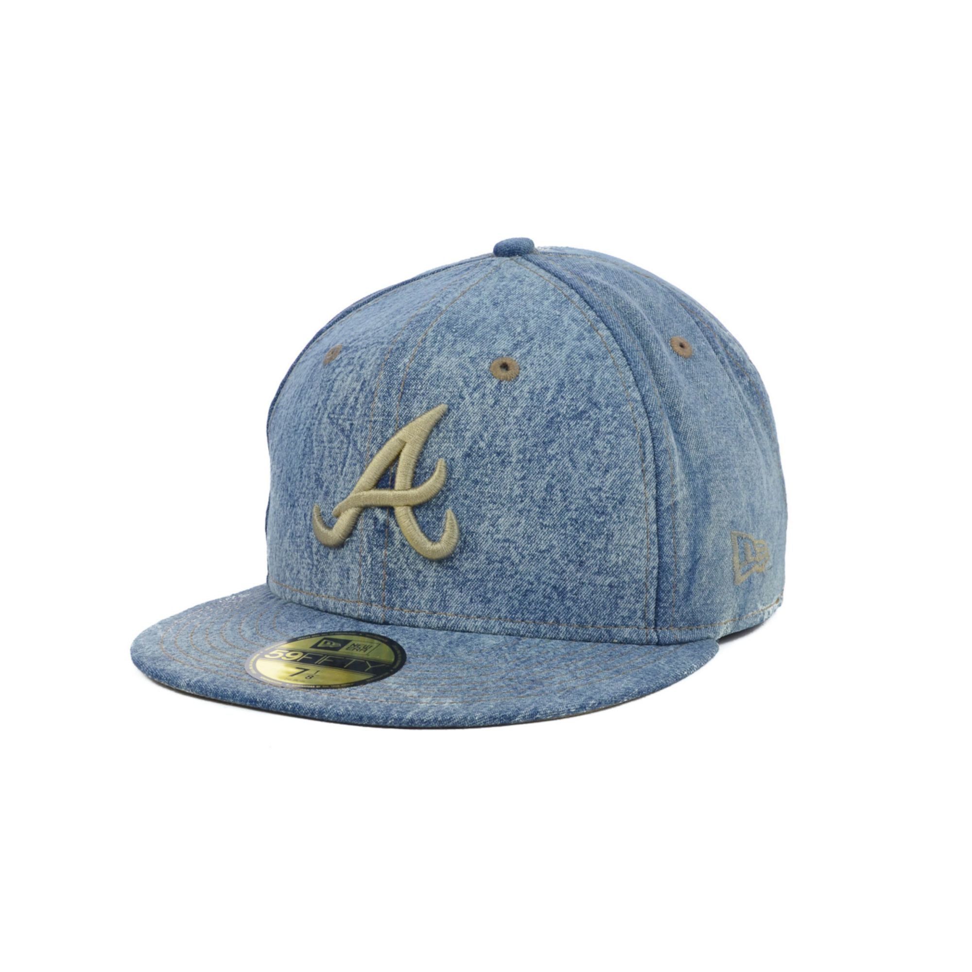 Braves Hats: Ktz Atlanta Braves Mlb Classic Denim 59fifty Cap In Blue