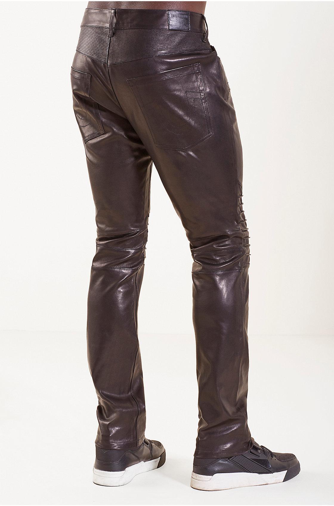 True Religion Biker Straight Leather Mens Pant In Black