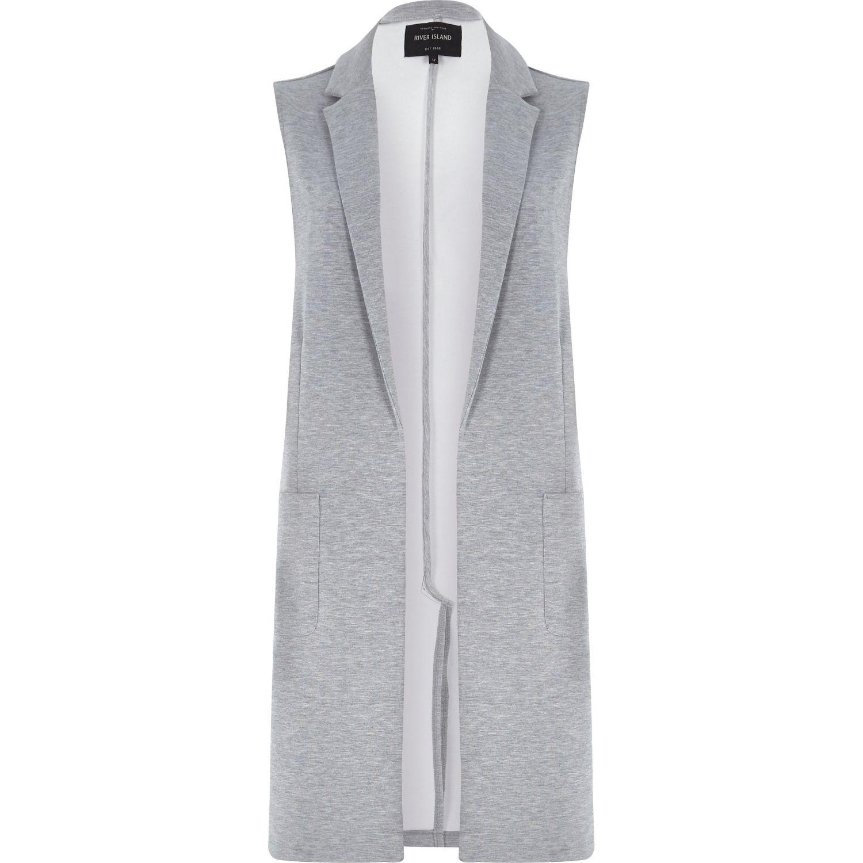 f414d7492 River Island Grey Jersey Longline Sleeveless Jacket in Gray - Lyst