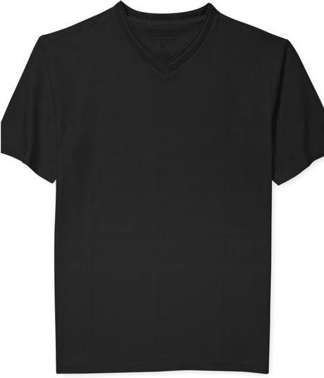 Sean john solid v neck t shirt in black for men pm black for Sean john t shirts for mens