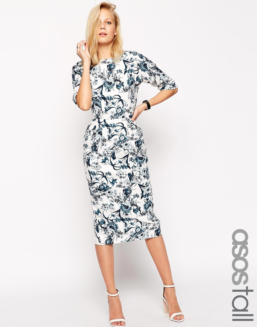 Asos garden party floral wiggle dress in blue lyst for Garden wedding party dresses