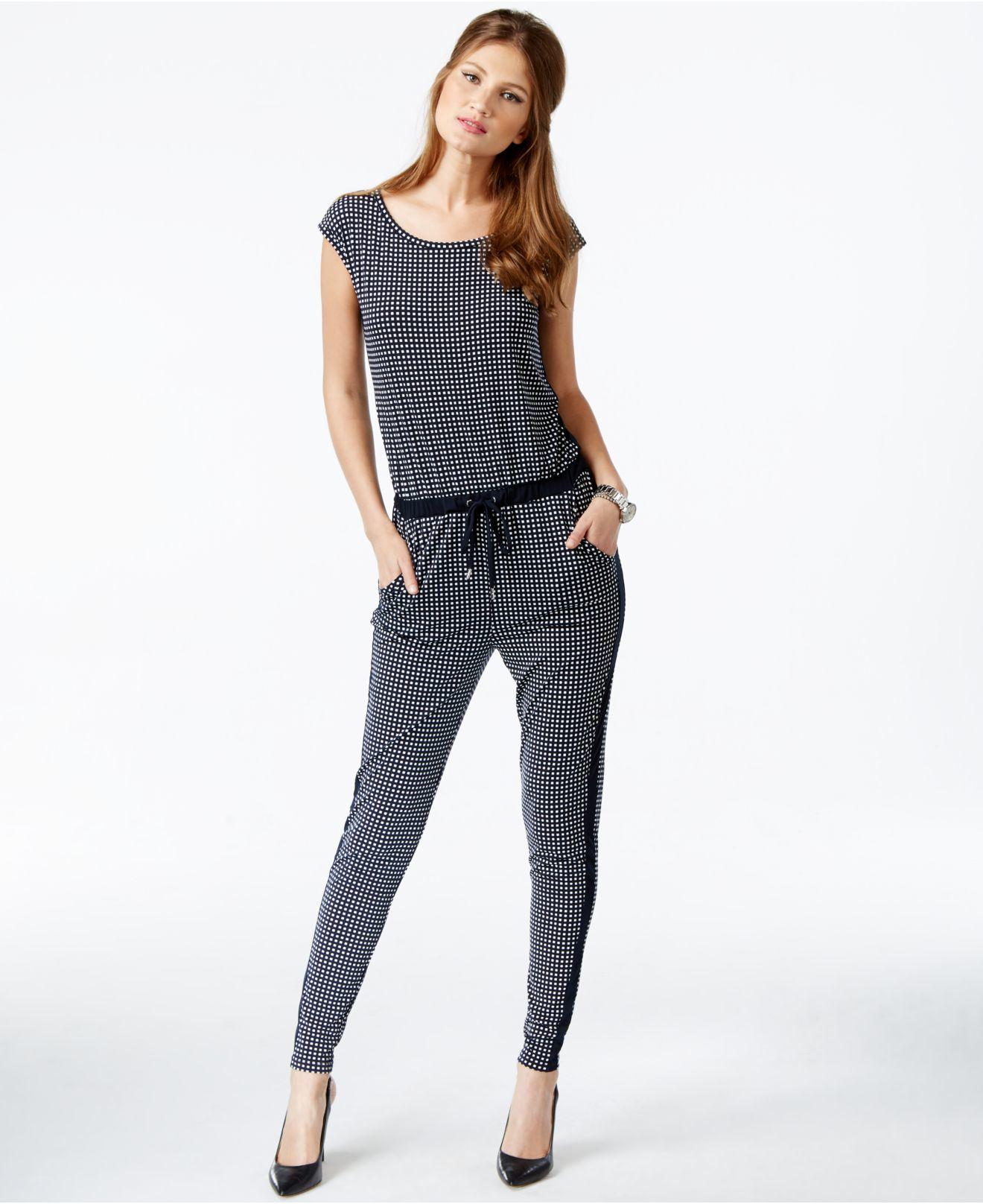 lyst michael kors michael petite printed side stripe jumpsuit in blue. Black Bedroom Furniture Sets. Home Design Ideas