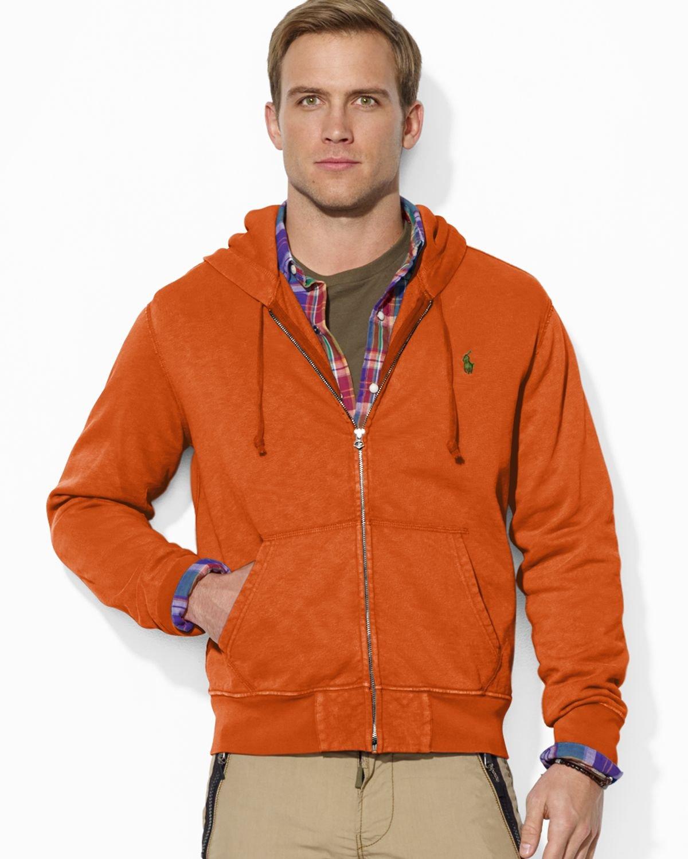 Ralph Lauren Polo Fullzip Fleece Hoodie in Orange for Men (Course Orange)   Lyst
