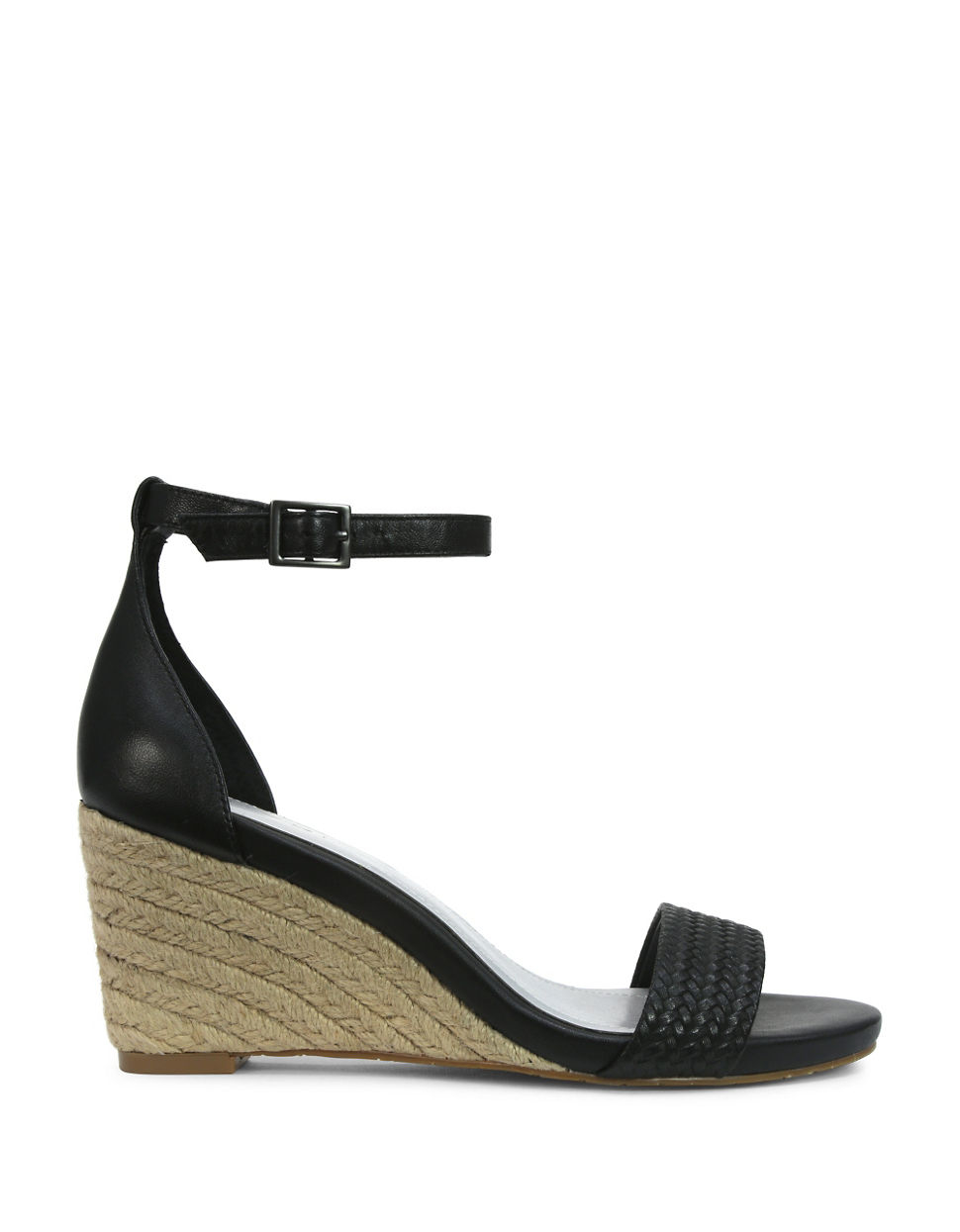 tahari florence leather wedge sandals in black lyst