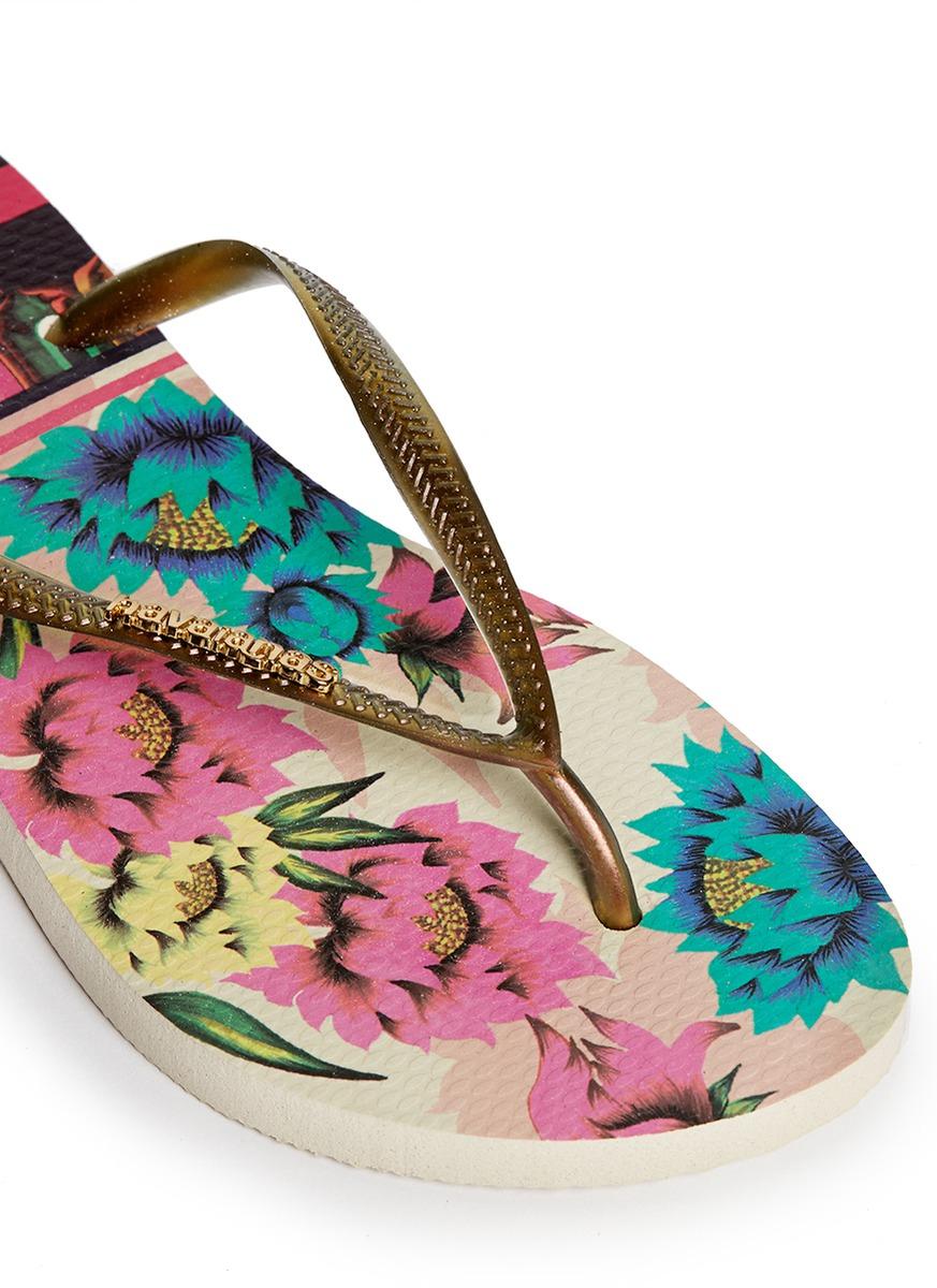 48e5e75f7fad Havaianas  slim Tropical  Floral Print Flip Flops for Men - Lyst