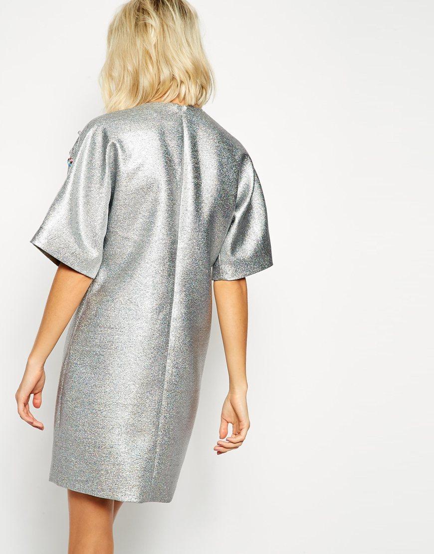 768c7b5f579d1 ASOS Glitter Dress With Gem Detail in Metallic - Lyst