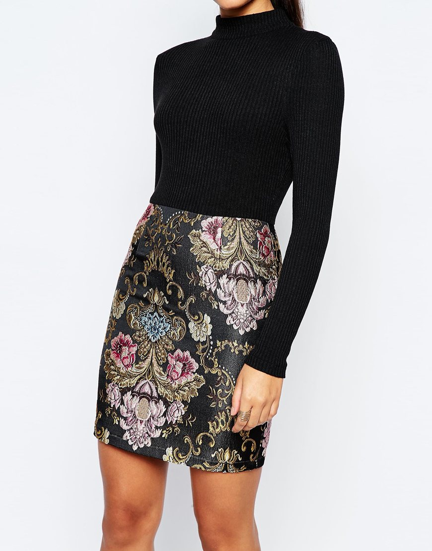 c383600c58a24f Missguided 2 In 1 Dress With Floral Jacquard Skirt - Multi in Black - Lyst