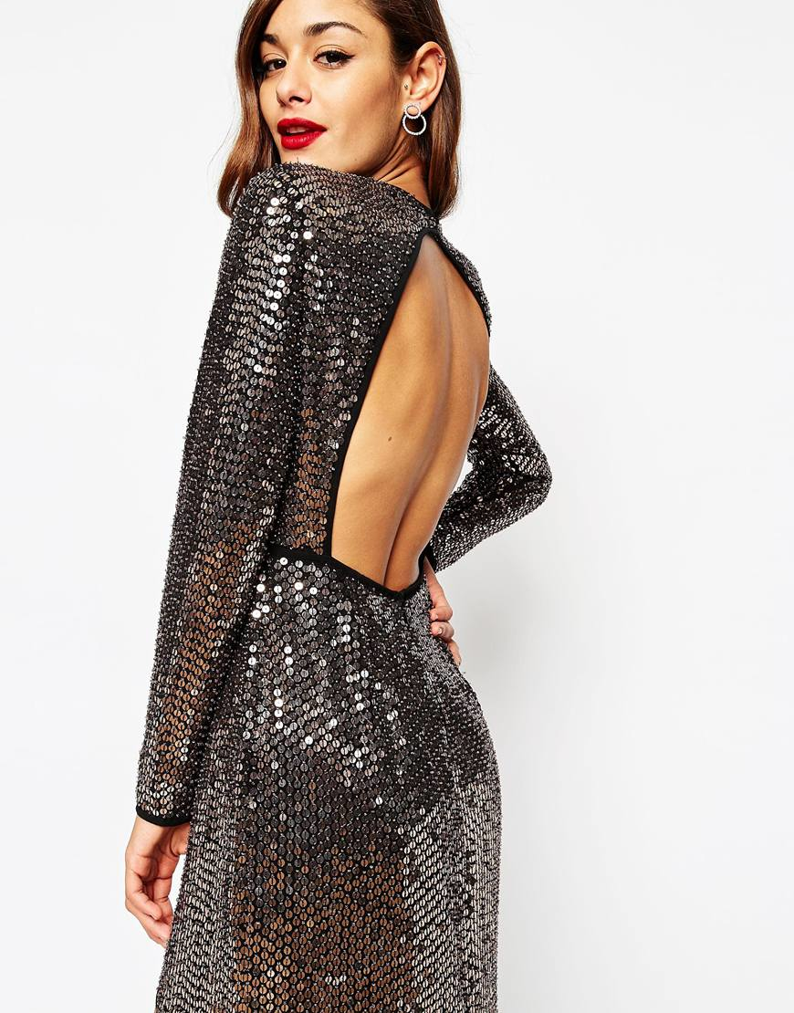 asos red carpet embellished sequin maxi dress with high