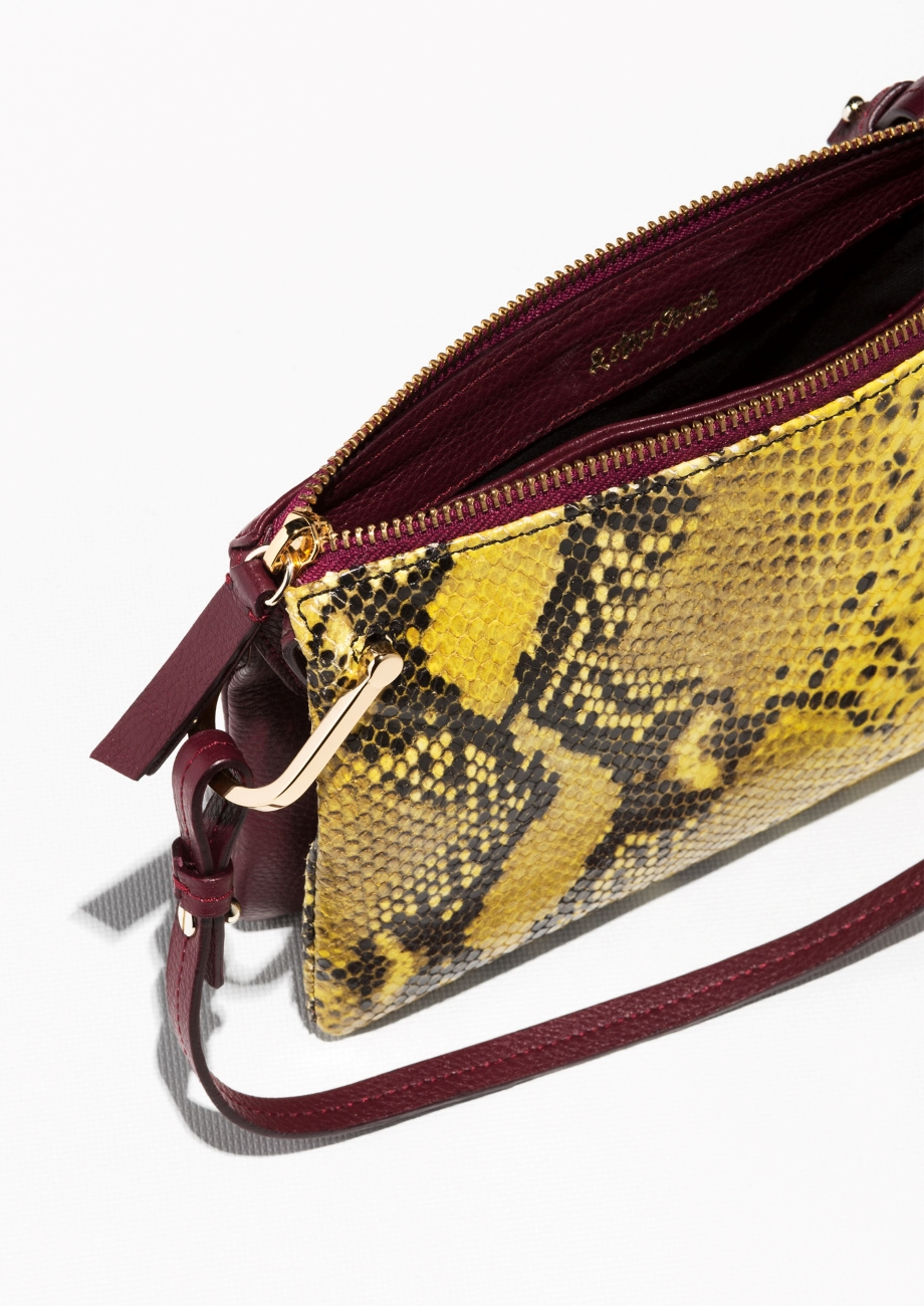 & Other Stories Leather D-ring Crossbody Bag in Yellow/Snake (Red)