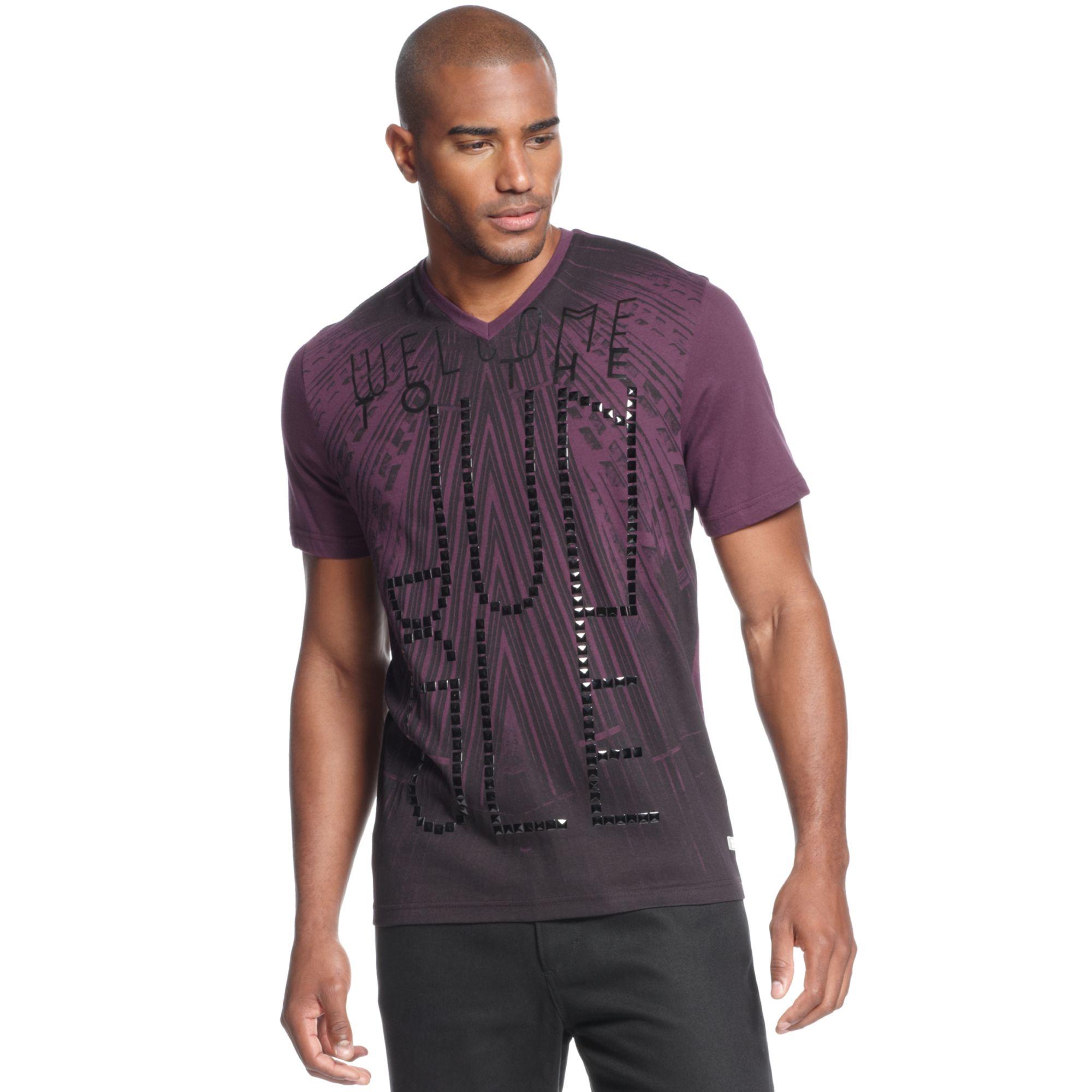 Sean john jungle v neck t shirt in purple for men lyst for Sean john t shirts for mens