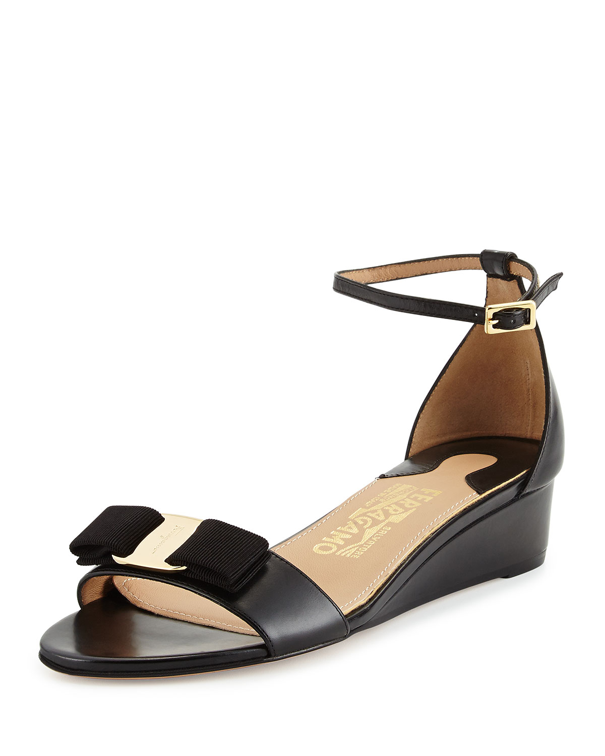 Black Bow Wedge Shoes