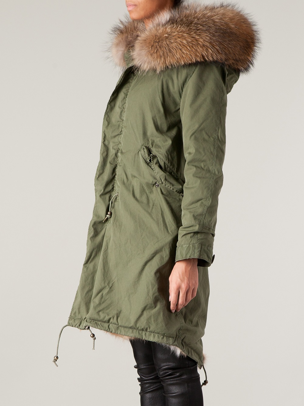 Mr & mrs italy Coyote Fur Lined Parka in Green | Lyst