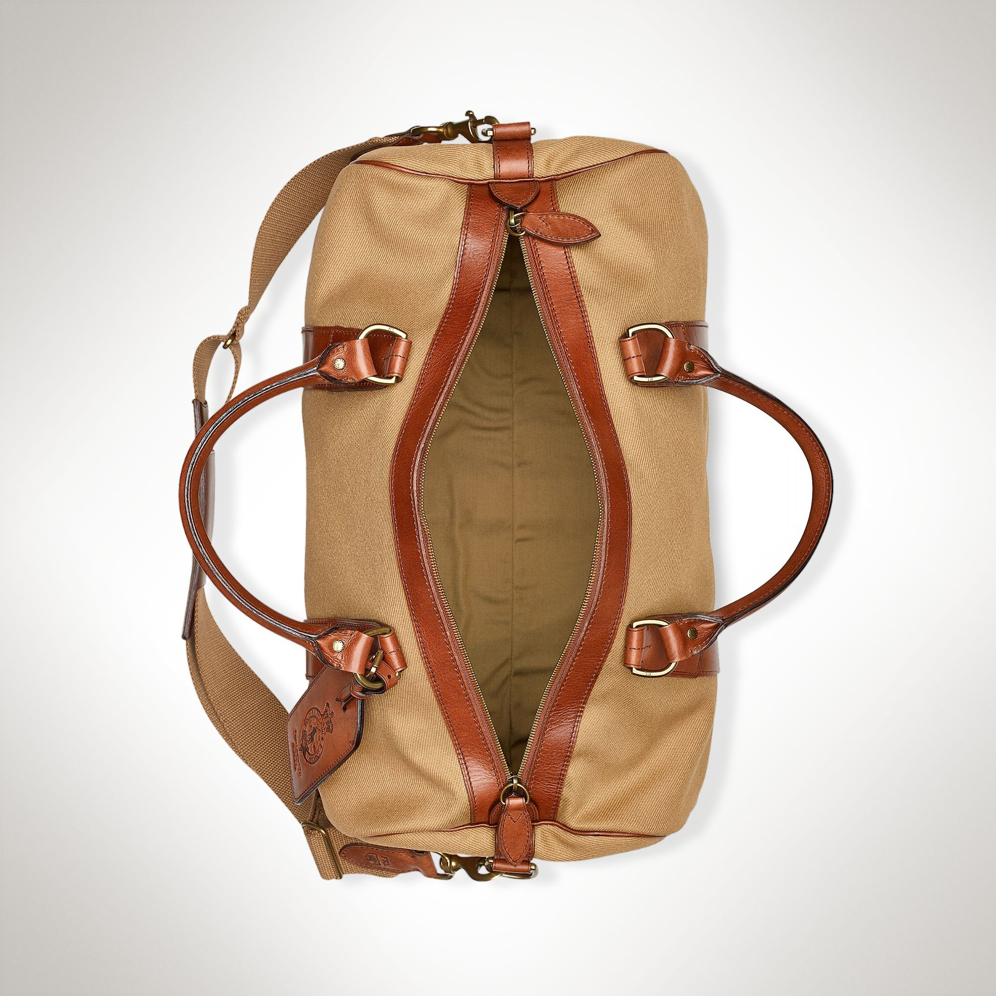 Leather For Polo Ralph Men Gym Lyst Bag Lauren Canvas In Natural knwN80XOP