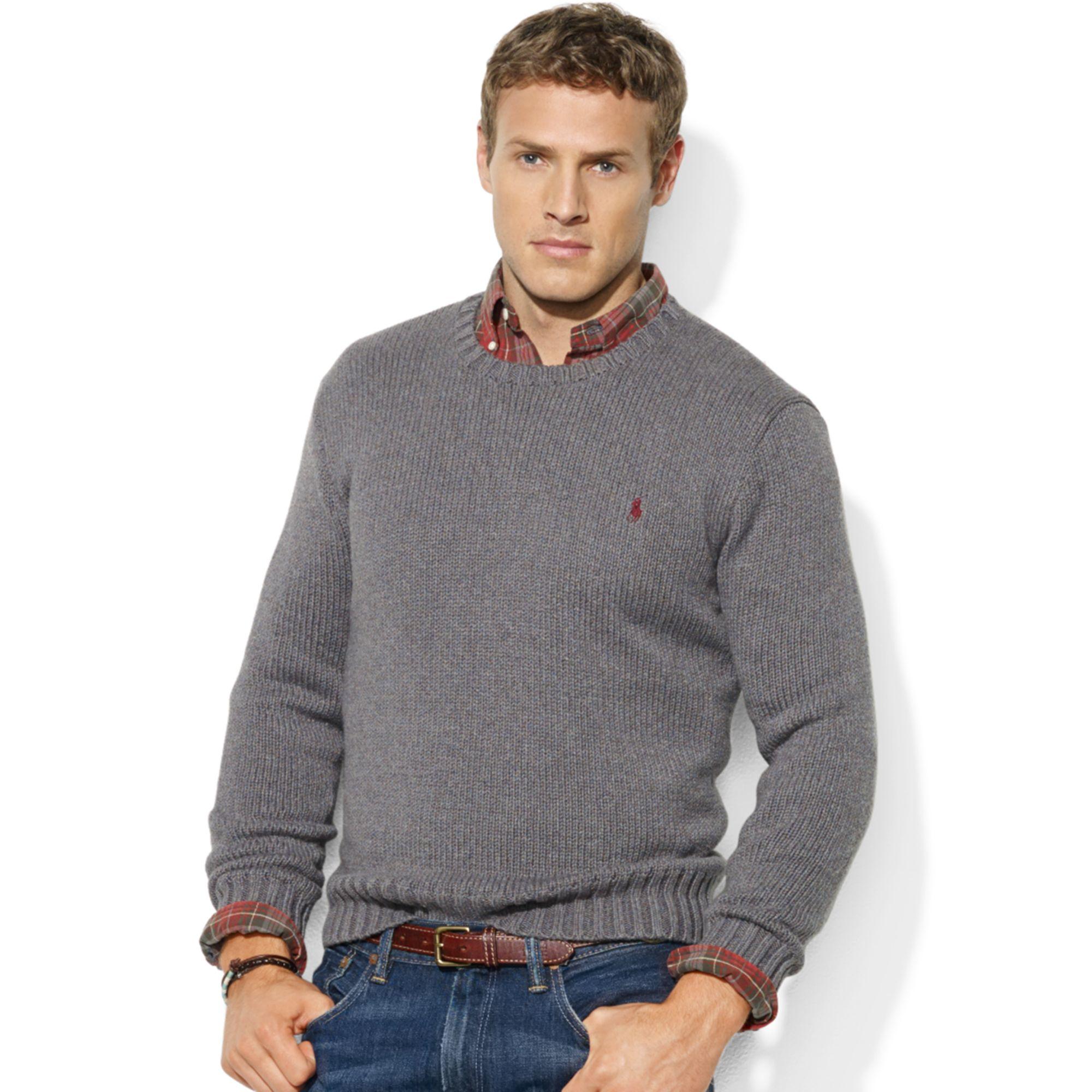 Ralph lauren Crew Neck Cotton Sweater in Gray for Men | Lyst