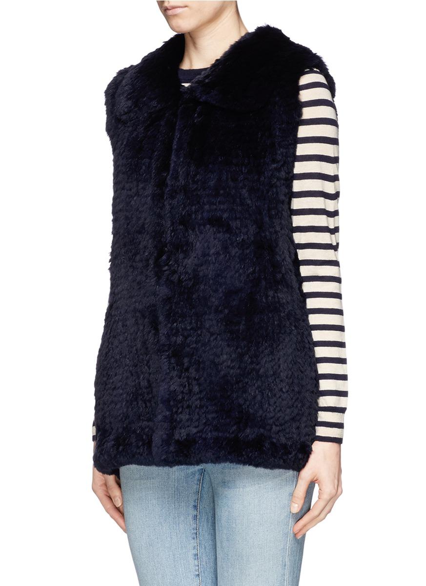 H Brand 'primrose' Rabbit Fur Knit Gilet in Blue
