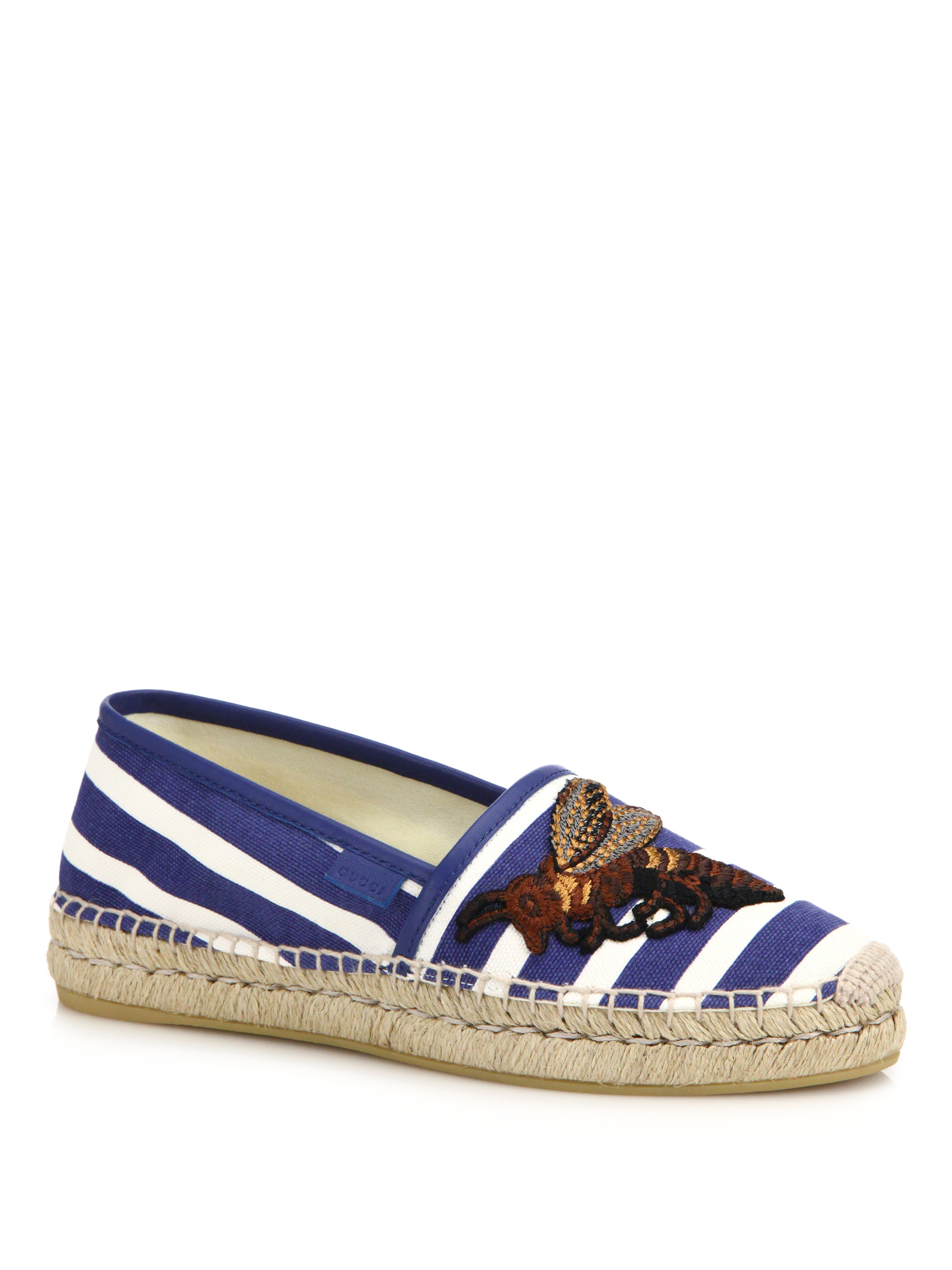 Lyst Gucci Pilar Embroidered Canvas Espadrilles