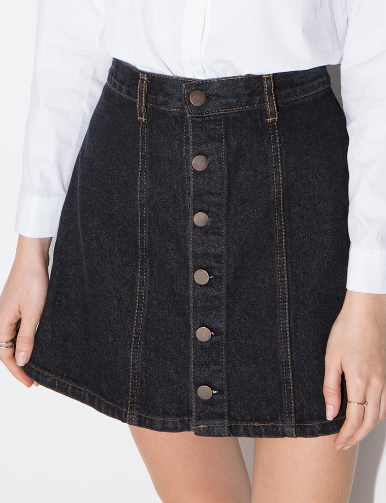 pixie market black denim a line mini skirt in black lyst
