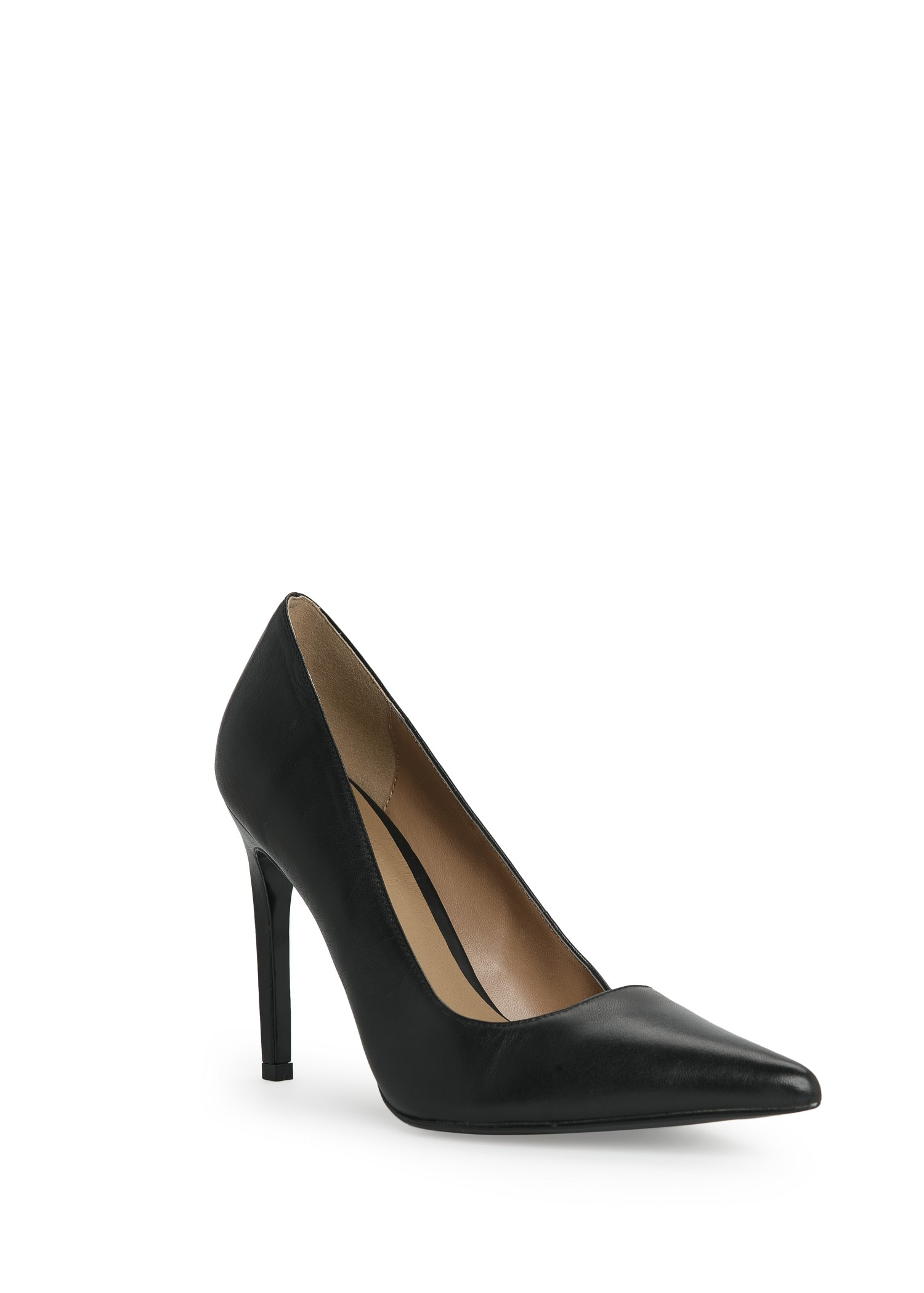 Mango Leather Stiletto Shoes in Black