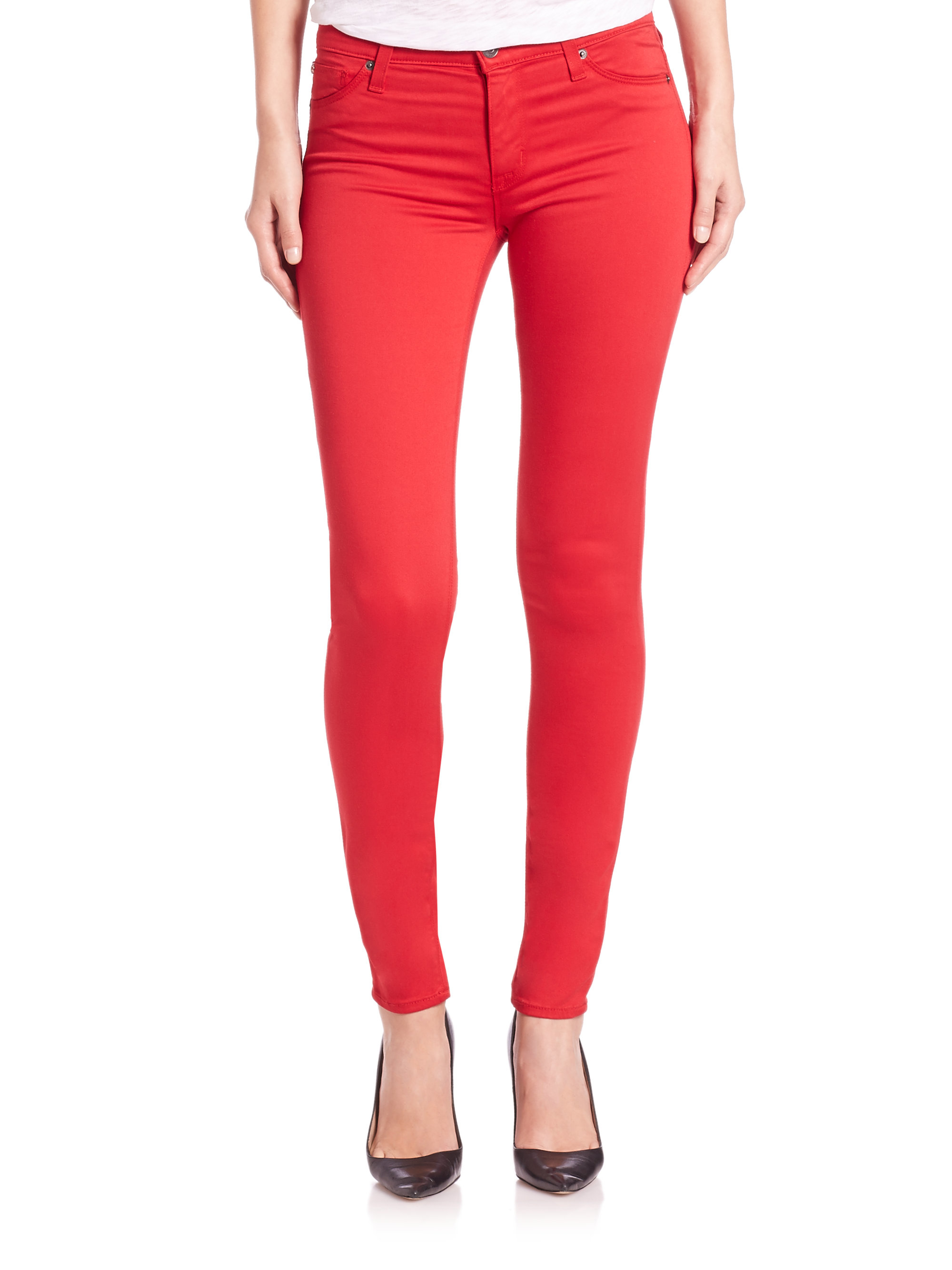 Hudson jeans Nico Mid-rise Super Skinny Jeans in Red | Lyst