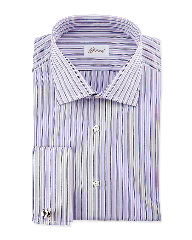 Lyst brioni bold stripe french cuff dress shirt in for Purple french cuff dress shirt