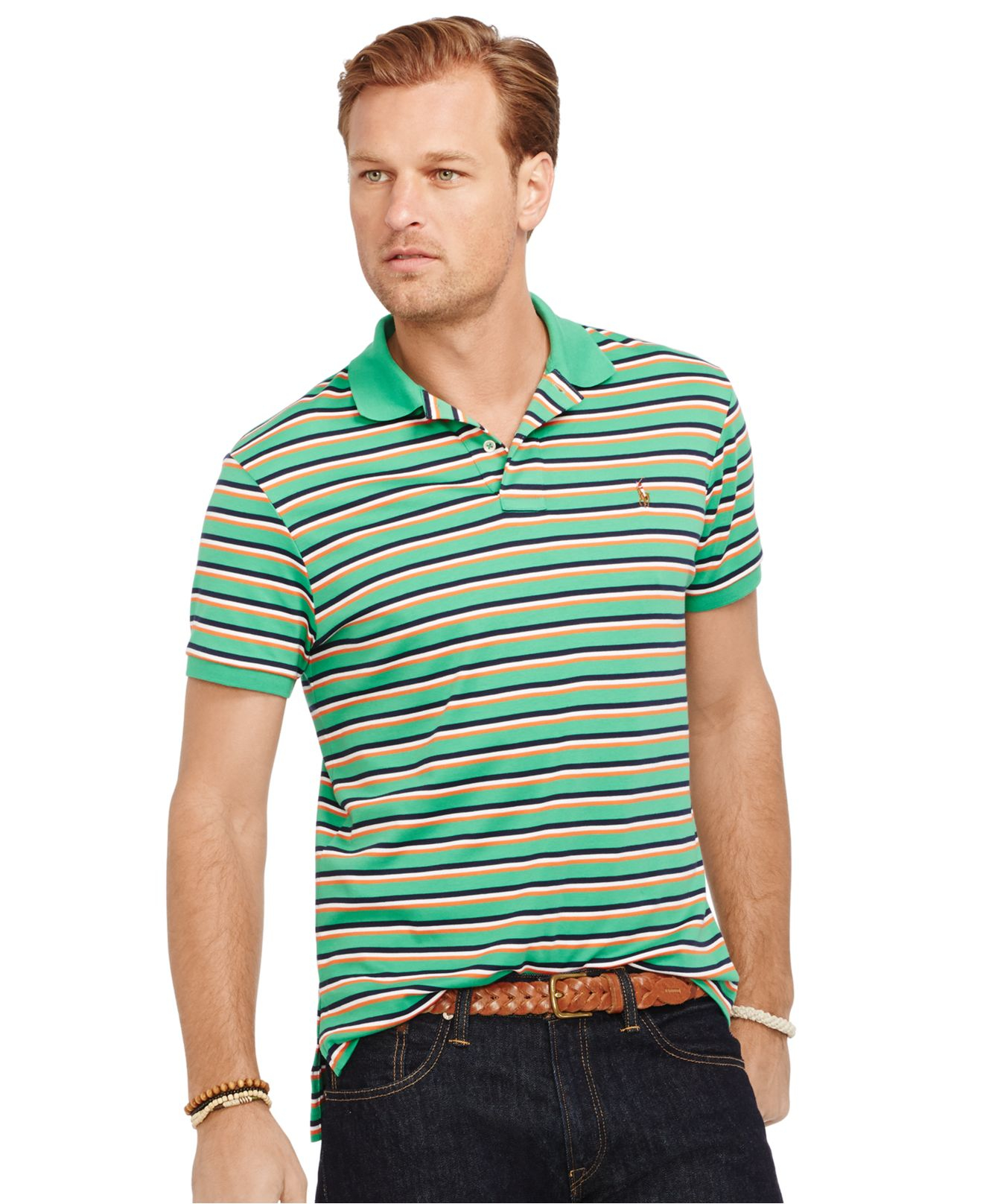 Polo ralph lauren big and tall striped pima soft touch for Big size polo shirts