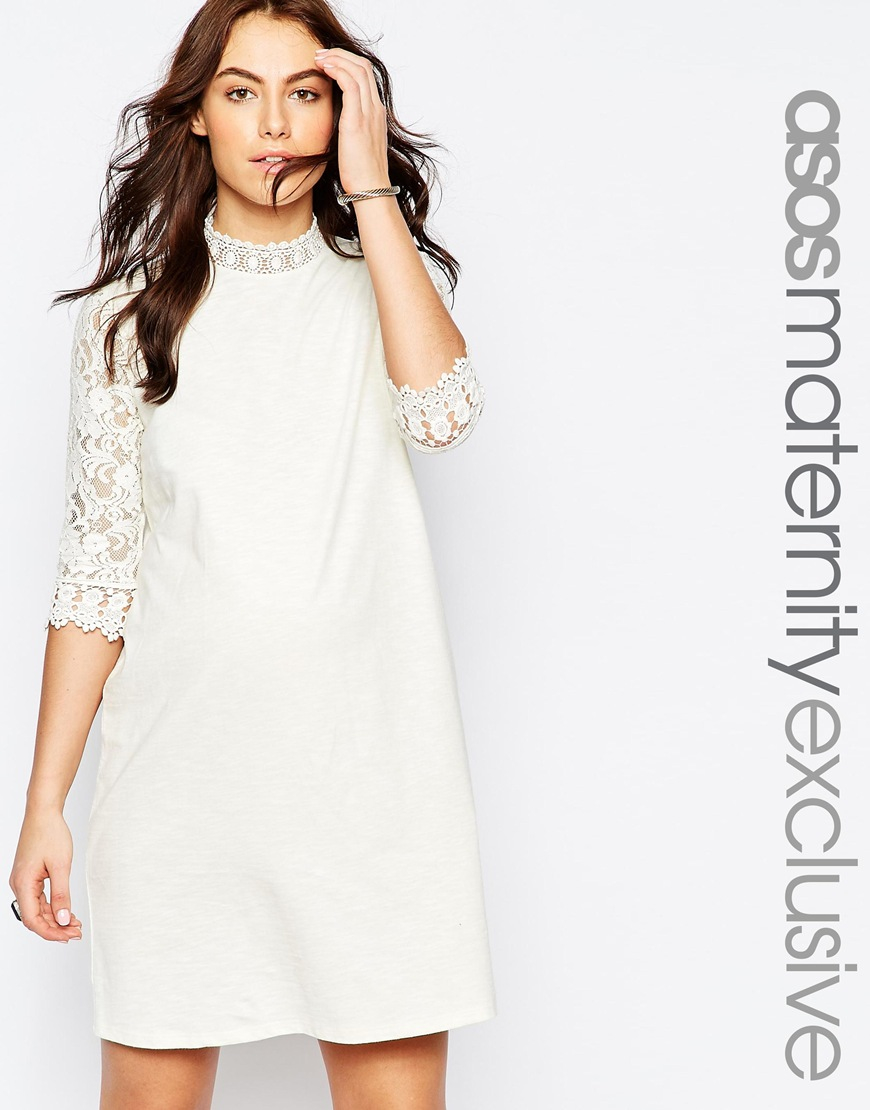 Asos cream lace shift dress
