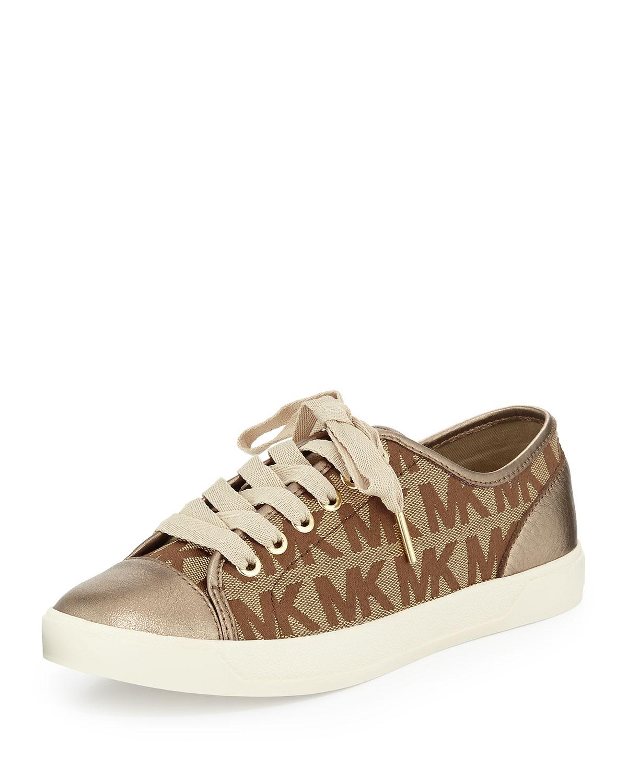 3d8355730e176 Lyst michael kors logo city sneaker in brown jpg 1200x1500 Mk logo sneaker