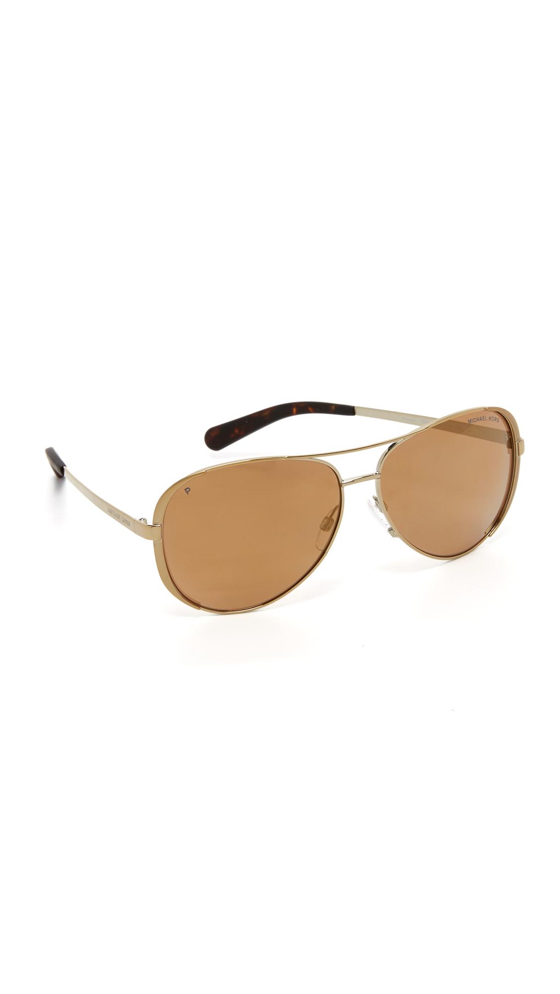 7a08893efa80 Michael Kors Chelsea Polarized Sunglasses - Gold/gold in Metallic - Lyst