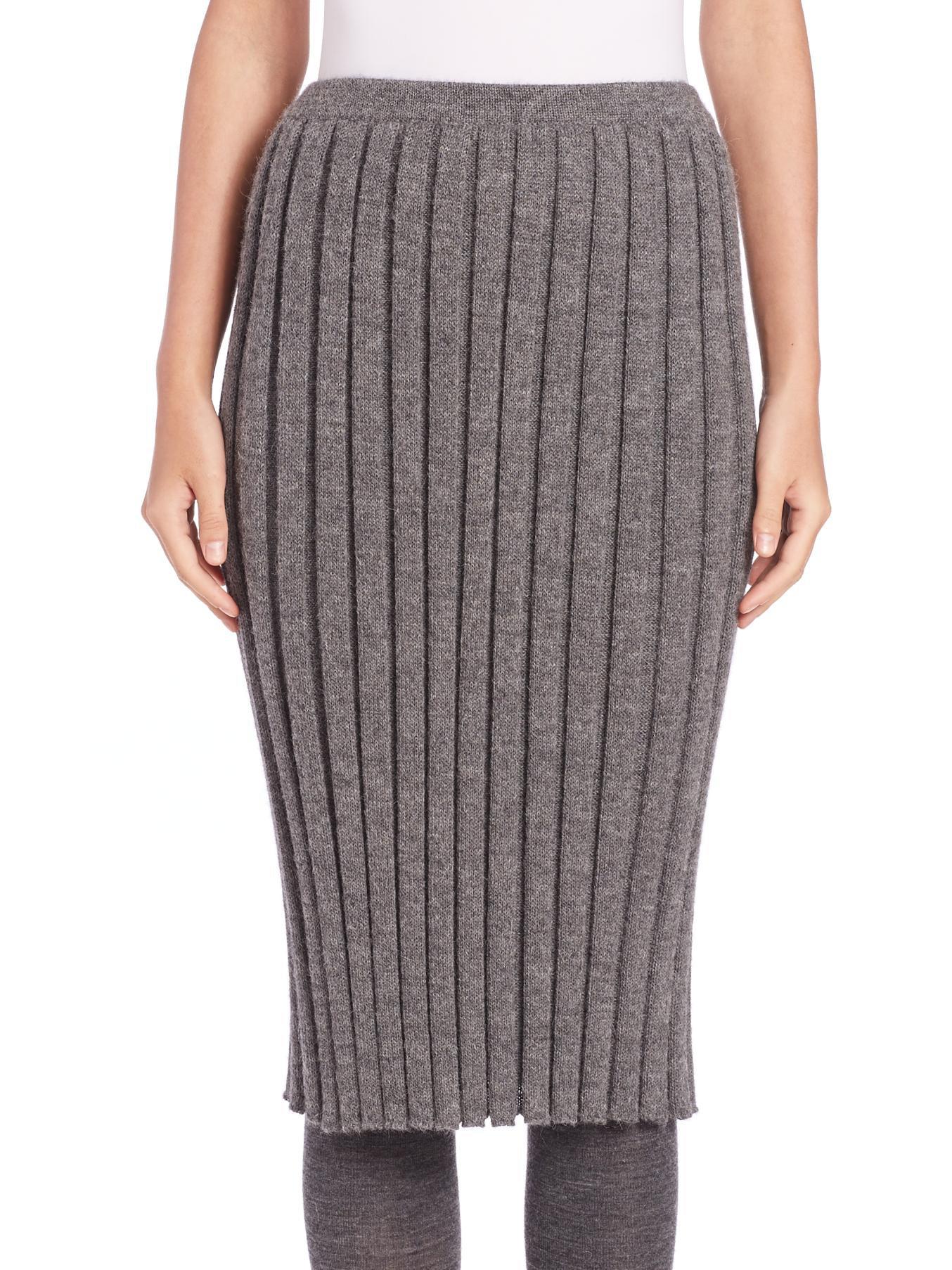 Detacher Rib-Knit Pencil Skirt in Gray (grey) | Lyst