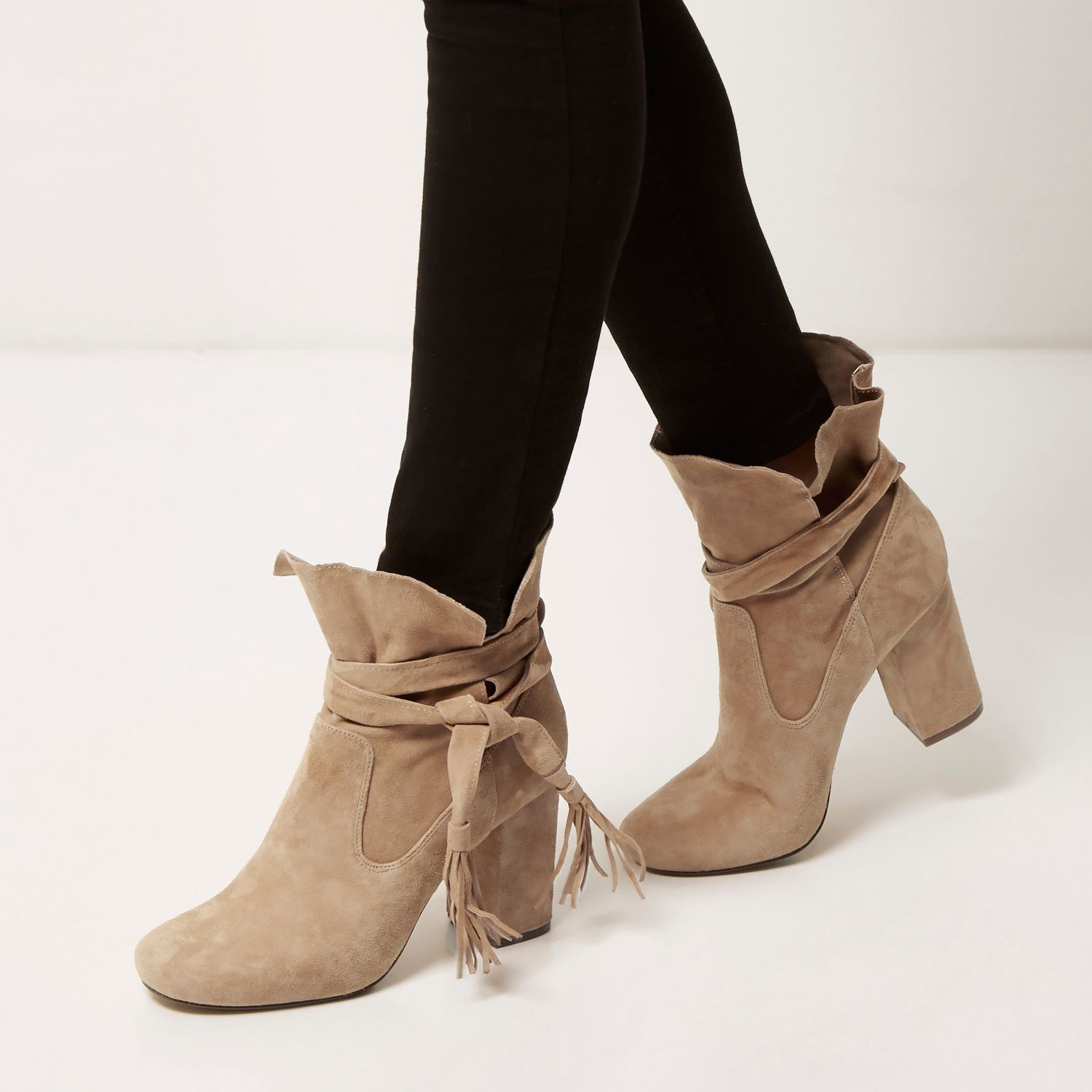 river island suede tassel heeled ankle boots in gray