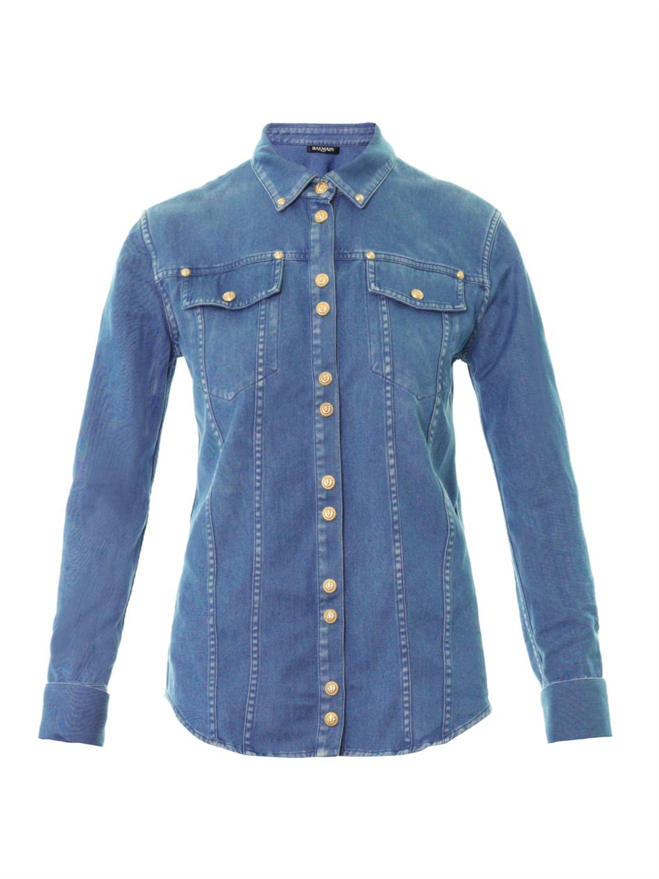 Shop BALMAIN DENIM SHIRTS, BLUE, starting at $ Similar ones also available. On SALE now!