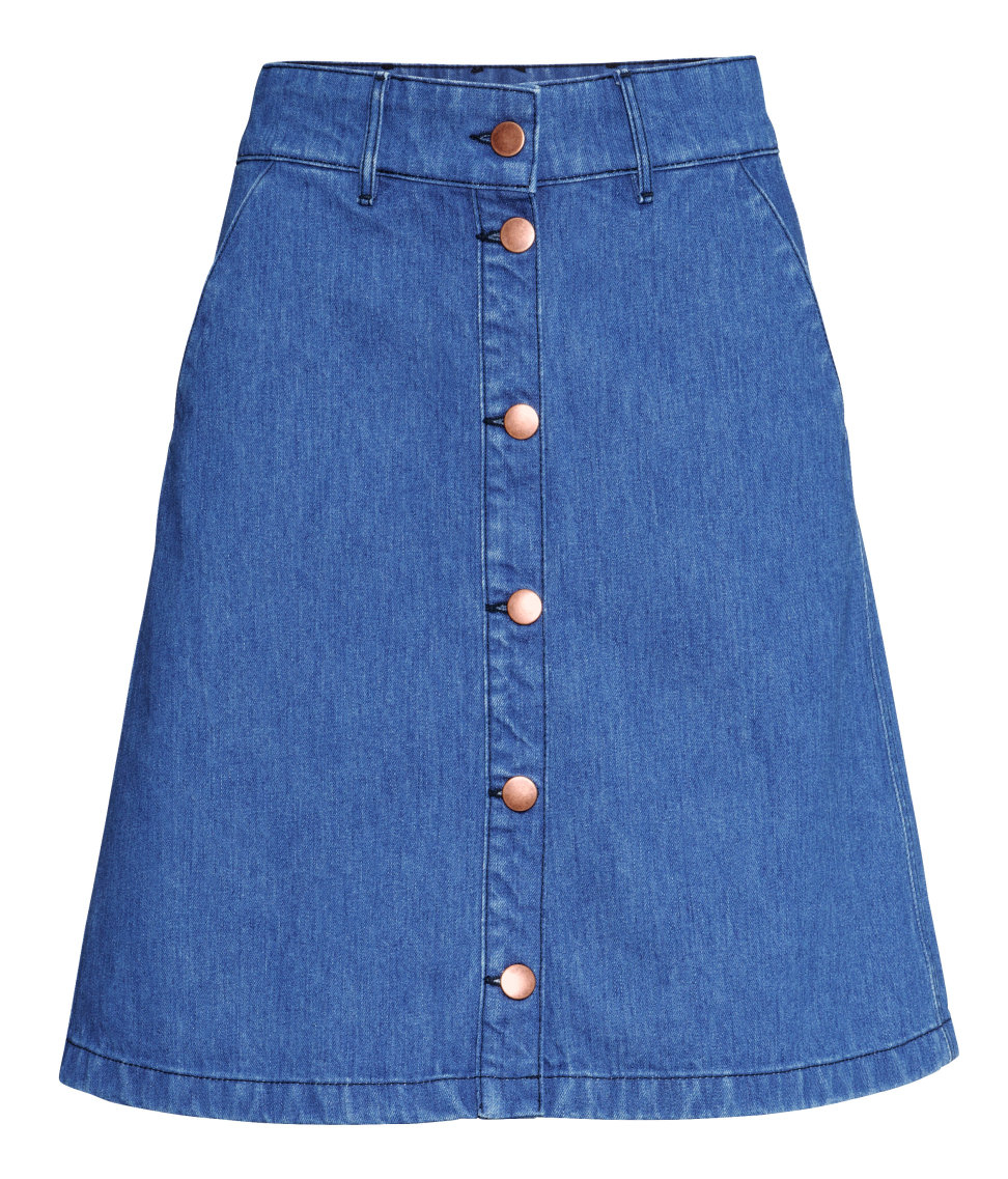 h m denim skirt in blue lyst