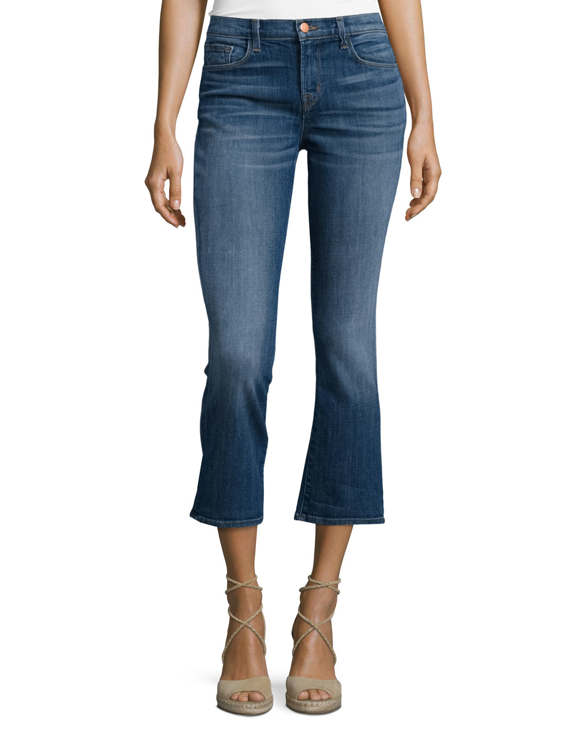 j brand selena mid rise cropped jeans in blue lyst. Black Bedroom Furniture Sets. Home Design Ideas
