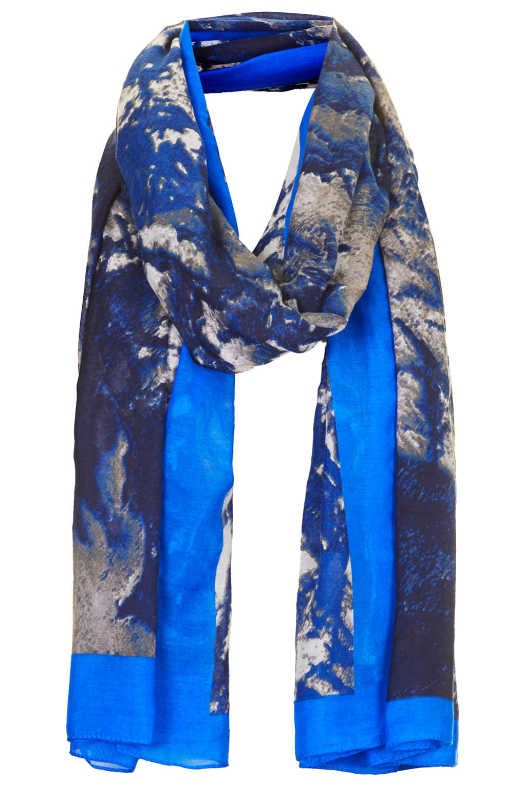 topshop womens aerial print scarf navy blue in blue lyst