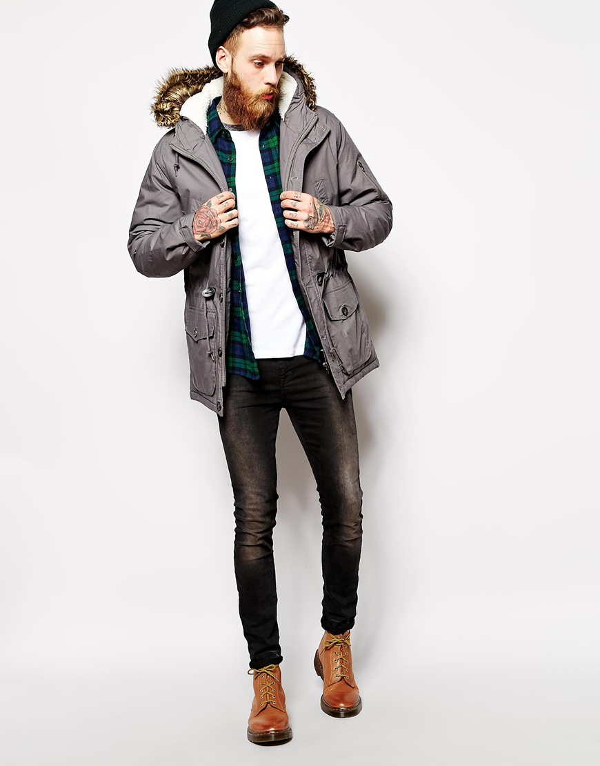 Asos Parka Jacket in Gray for Men | Lyst