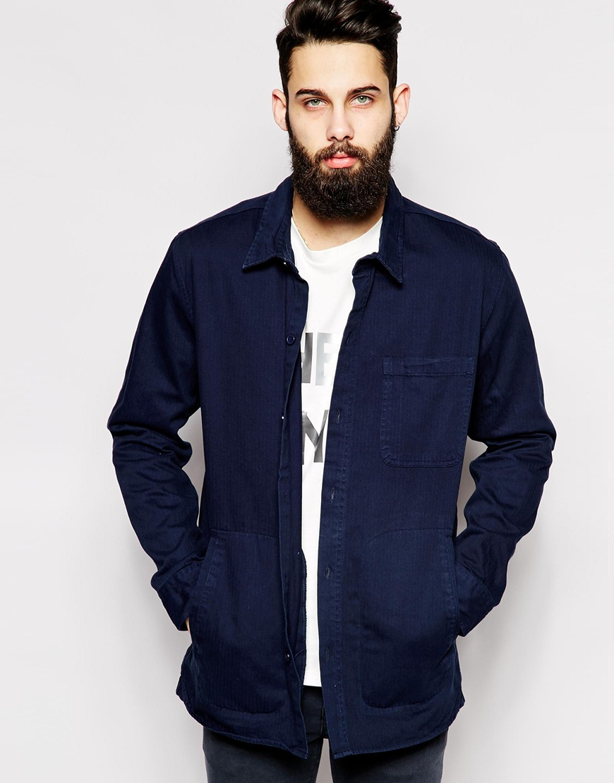 Cheap monday Overshirt Jacket Labour Herringbone in Blue for Men ...