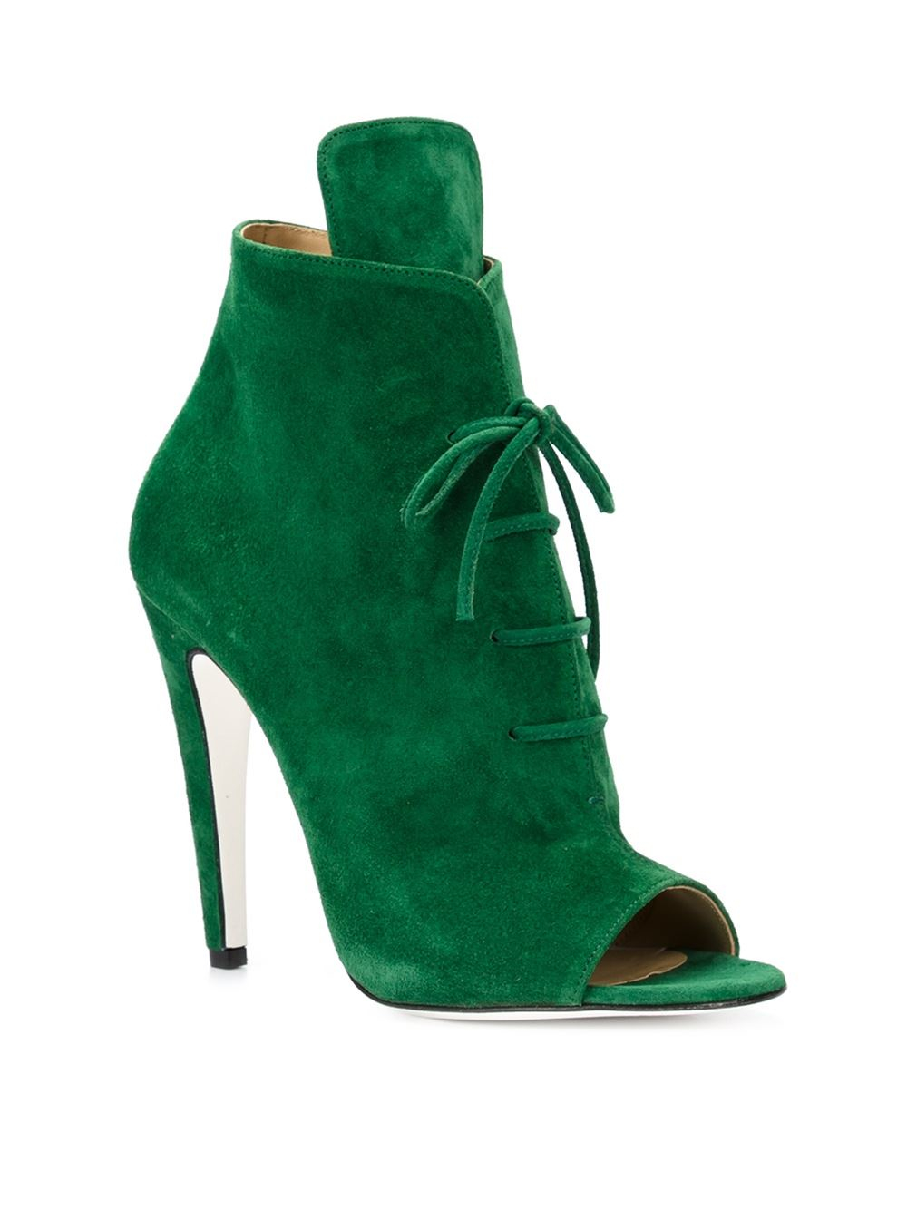 Off-White c/o Virgil Abloh Peep-Toe Lace-up Boots in Green