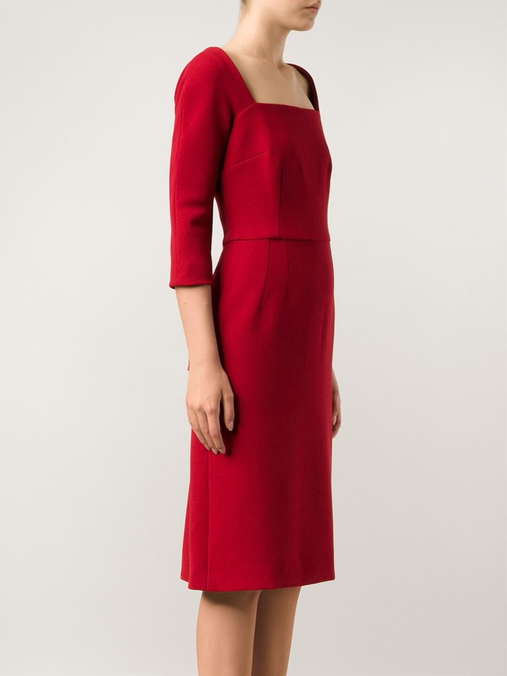 Dolce Amp Gabbana Crepe Square Neck Dress In Red Lyst