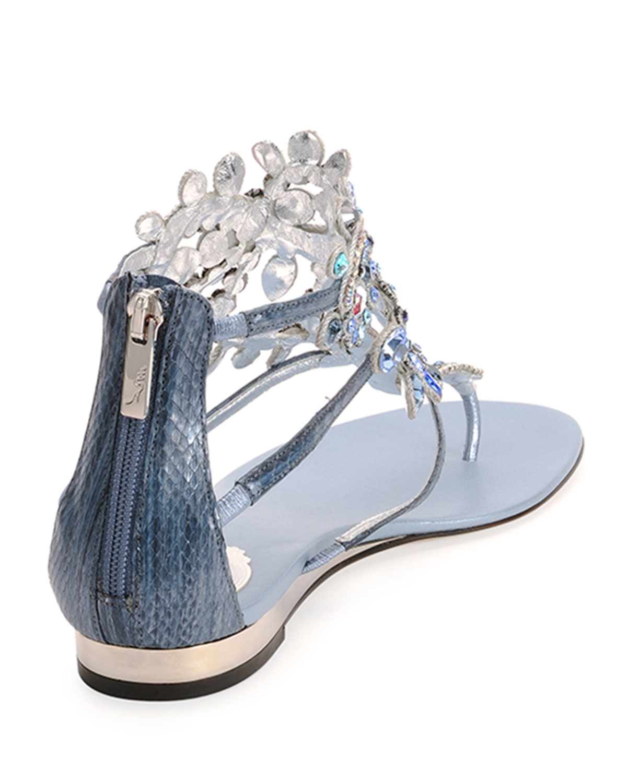 Rene caovilla Crystal-Embellished Sandals in Blue   Lyst