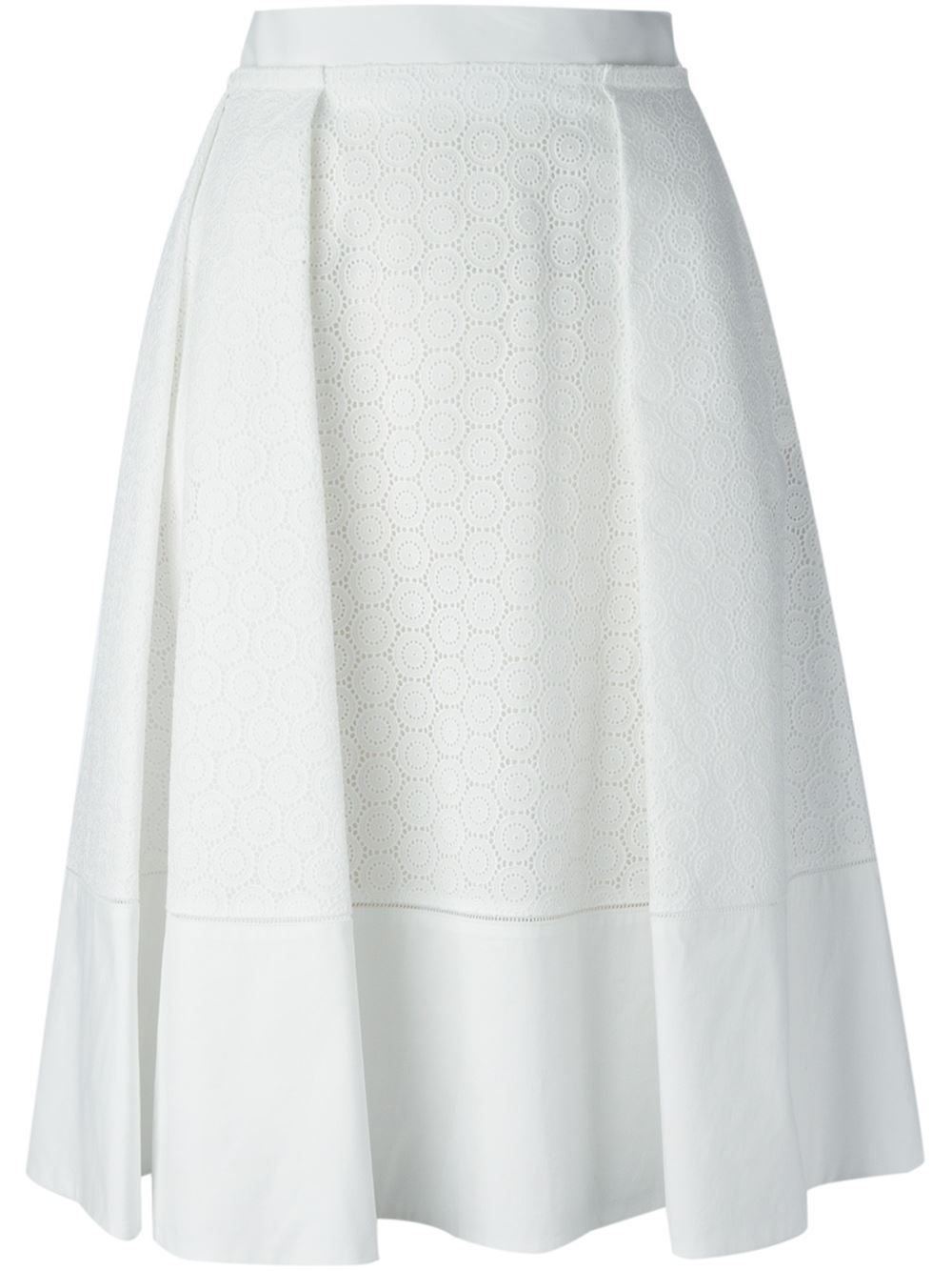 ferragamo perforated a line skirt in white lyst