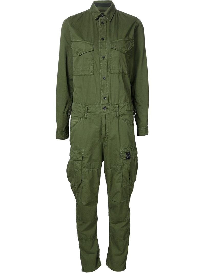 g star raw cargo jumpsuit in green lyst. Black Bedroom Furniture Sets. Home Design Ideas