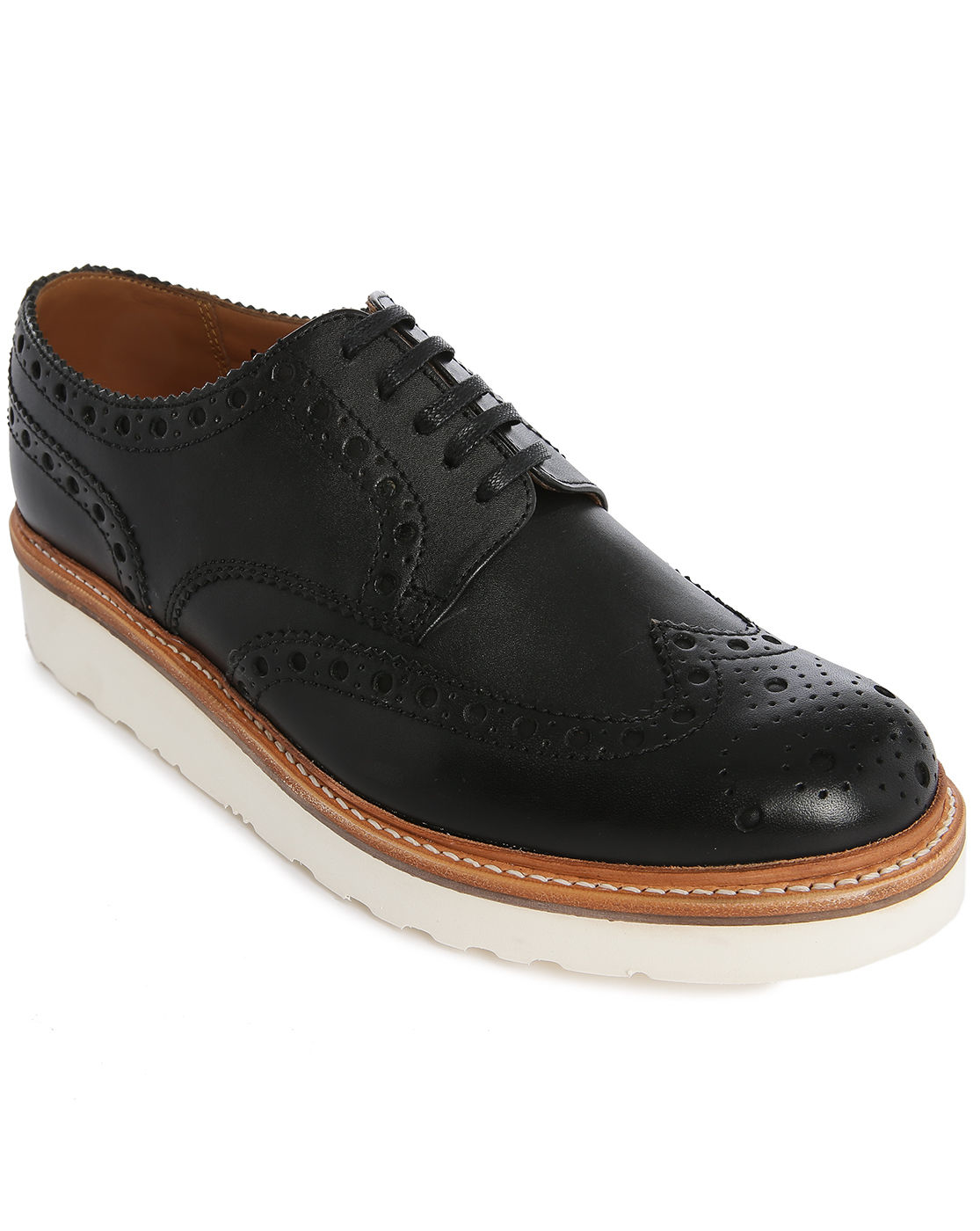 foot the coacher archie v black brogue shoes with floral